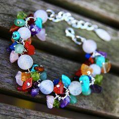 Handmade multicoloured gemstones chakra bracelet by Sitaras Collection