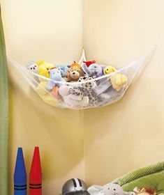 Huge Toy Storage Net holds kids' favorite stuffed animals and other plush friends neatly tucked away in the corner. Mount it in any corner of a room with the included hardware Van Storage, Corner Storage, Storage Spaces, Toy Corner, Storage Ideas, Stuffed Animal Storage, Stuffed Animals, Toy Rooms, Kids Rooms