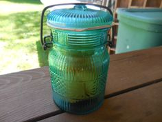 Vintage 1970s Teal/Aqua Canning Jar With Metal Closure Avon With Peaches Soap Bathroom/Kitchen Storage by KimsKreations17 on Etsy