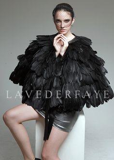 Couture Black Goose Feather Cape Wrap - Laveder Faye. $169.99, via Etsy.