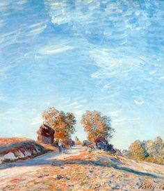 Hill Path in Sunlight, Oil by Alfred Sisley (1839-1899, France)