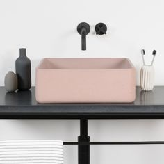 Solid concrete basin in Blush from Aston Matthews