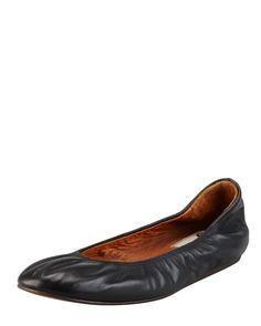 Scrunched Leather Classic Ballerina Flat, Black, Size: 7.5B - Lanvin