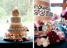 An elegant champagne cake with swirled #details #weddingcake