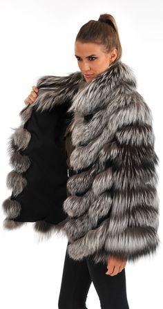 veste en fourrure de renard argenté agostoni