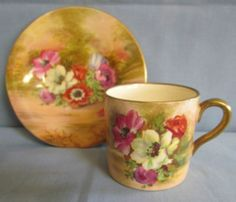 Vintage Royal Winton Handpainted Coffee Cup Saucer 1930'S