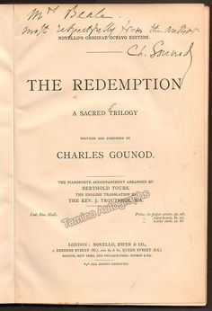 Gounod, Charles - The Redemption - Signed First Edition Piano and Vocal Score 1882