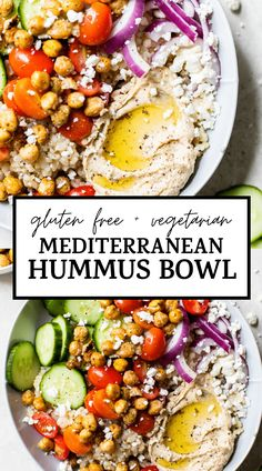 Easy and delicious MEDITERRANEAN HUMMUS BOWL that features rice vegetables and crispy roasted chickpeas. It's a healthy vegetarian meal that can be made ahead of time and enjoyed for lunch or dinner! Tasty Vegetarian Recipes, Vegetarian Recipes Dinner, Healthy Vegetarian Dinner Recipes, Easy Mediterranean Diet Recipes, Mediterranean Bowls, Dinner Bowls, Healthy Eating, Vegetable Rice Bowl Recipe, Vegetable Recipes