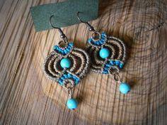 Macrame earrings/Turquoise bead earrings/Gemstone earrings/Bohemian jewelry/Macrame jewerly