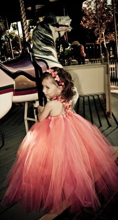 Coral and Pink Fleur Flower Girl Tutu Dress. Features by NaomiBlu
