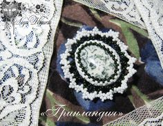 "Beaded Brooch ""Greenland"" by Lady Lunar Cat. Author's design, jasper, Japanese and Czech seed beads. Size 5x4,5 cm. Price $ 28 Брошь из бисера ""Гренландия"" от Леди Кошки. Авторский дизайн. яшма, японский и чешский бисер. Размер 5х4,5 см. Цена 28$ beads, peyote, beadwork, handmade, Lady Lunar Cat, white, black, green, jasper, brooch"