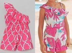 One-shoulder infant overall pattern Baby Romper Pattern, Baby Frocks Designs, Frock Dress, Kids Frocks, Frock Design, Fashion Sewing, Beach Dresses, Baby Sewing, Kids Wear