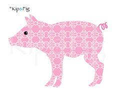 Piglet applique template - PDF applique pattern. £1.50, via Etsy. © Kip & Fig 2012