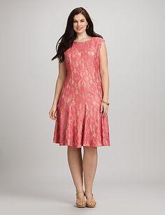 Plus Size Coral Lace Dress