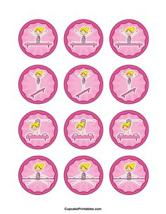 Gymnastics Cupcake Toppers Use The Circles For Cupcakes Party Favor Tags And More