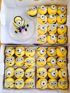 I made this birthday minion with birthday cake and 3 dozen fondant covered minion cupcakes for my children's school principal's birthday. Boy was he surprised! Minion Cookies, Minion Cupcakes, Cupcake Cakes, Cupcakes For Boys, Boy Birthday Cupcakes, Minion Treats, Fondant Minions, Minion Birthday, Minion Party