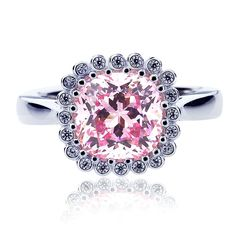 Platinum Plated Sterling Silver 2.5ct Cushion Super Light Pink CZ Ladies Cocktail Ring ( Size 5 to 9 ) >>> Special  product just for you. See it now! : Jewelry Ring Statement
