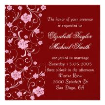 Elegant Red Cherry Swirls Wedding Invite
