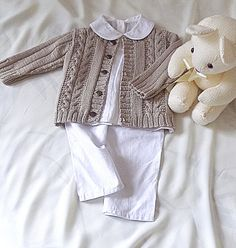 OGE Knitwear Designs -  P060 - Baby / Child Sweater with Cables and Rib Sleeves (birth - age 5)