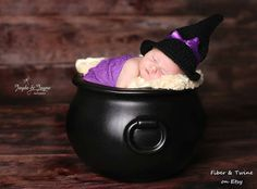 Sweet baby witch hat available in sizes newborn through 4 years old by Fiber & Twine https://www.etsy.com/listing/205958443/crochet-baby-witch-hat-baby-witch-hat