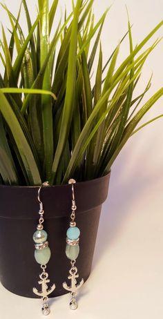 Great Beach Earrings! Blue Sea foam Nautical Anchor Earrings by NotableJewelDesigns on Etsy