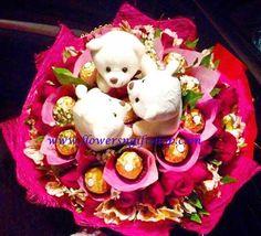 Beary Sweet Chocolates, Bouquet, Bear, Sweet, Desserts, Flowers, Food, Meal, Schokolade