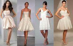 Diversos modelos de vestido de noiva curto, com diferentes caimentos e tecidos, mostram a flexibilidade dessa peça coringa