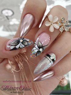 Swag Nails, Fun Nails, Pretty Nails, Light Nails, Elegant Nails, Nail Accessories, Beautiful Nail Designs, Cute Acrylic Nails, Flower Nails