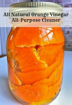 Fill jar with orange peels and vinegar. Let sit for two weeks. Transfer to a spray bottle. All natural, great smelling citrus cleaner!