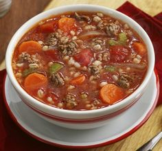 BEEF AND BARLEY SOUP - Beef stew meat is a great bargain, cut from tougher cuts of beef that are best cooked low and slow. This classic soup takes a pound of beef, some vegetables and grain for a hearty soup to feed a crowd.