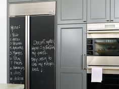 refrigerator with chalkboard paint on outside! Love it!