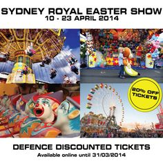 Sydney Easter Show- Defence Discount available only till 31/3 Click here for more detail: http://www.apod.com.au/announcements/discounted-tickets-to-sydney-royal-easter-show-2014