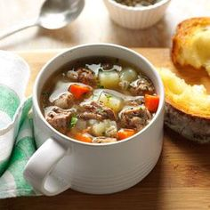 Ground Beef Barley Soup Recipe -I first tasted this soup when a friend served it to our family one day after church. It's now a favorite with our family, especially our three children.—Maggie Norman, Stevensville, Montana
