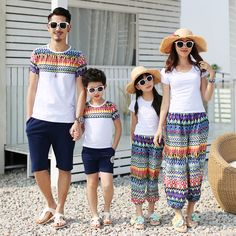 Family Set Cotton T shirt+Bloomers for Mother Daughter Dad Son T shirts Clothes Family Clothing Sets Parent-Child Clothing BL02