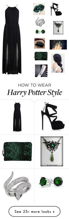 """""""Slytherin Yule ball """" by queenofdarkness22 on Polyvore featuring Superdry, Effy Jewelry, Bling Jewelry, Inge Christopher and Casadei"""