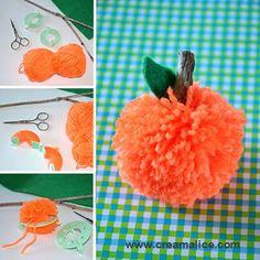 DIY Citrouille Pompon déco Halloween