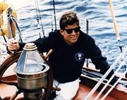 KN-C23216 President Kennedy sails aboard the U. S. Coast Guard yacht Manitou off John's Island, Maine, 12 August 1962.  #PDCG PICK