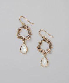 Bronze & Mother-of-Pearl Drop Earrings