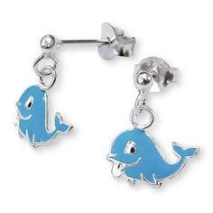 Whale Light Blue Studs - Silver Drop Earrings #Silvadore