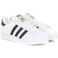 Adidas Originals Superstar Leather Sneakers ($110) ❤ liked on Polyvore featuring shoes, sneakers, white, white shoes, adidas originals, real leather shoes, adidas originals trainers and adidas originals sneakers