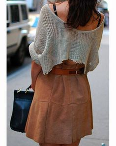 Skirting around-The fresh silhouette this season is a high-waist skirt paired with a cropped (or cut) top.... - Total Street Style Looks And Fashion Outfit Ideas