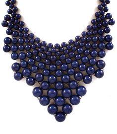 $39.95  Navy Formica Bead Necklace  www.moochandco.com
