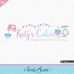 Premade Bakery Logo Cake Logo Cakery Logo by KirstenLouiseDesign #logodesign #logo #graphicdesign #bakerylogo #cupcakelogo #cakelogo #cupcakes #cakedesign #mixerlogo #whisklogo #kitchenaid #cooking #baking