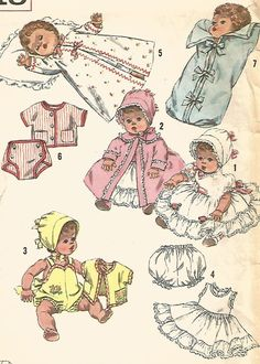 MOSTLY UNCUT VINTAGE DOLL CLOTHES FOR BETSY WETSY & TINY TEARS SEWING  PATTERN