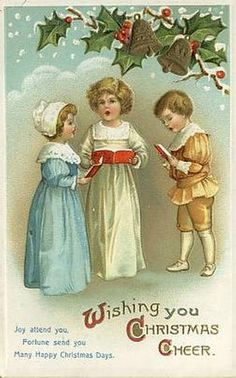 Have one to sell? Sell it yourself    ~ Clapsaddle~ TRIO of CHILDREN SING CHRISTMAS CAROLS~Antique POSTCARD-J879