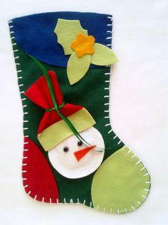 Bota de Natal em Feltro Boneco de Neve
