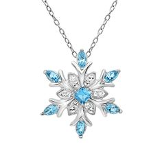 Sterling Silver Blue and White Snowflake Pendant-Necklace with Swarovski Crystals , Gifts Under $99 - MLG Jewelry, MLG Jewelry  - 1