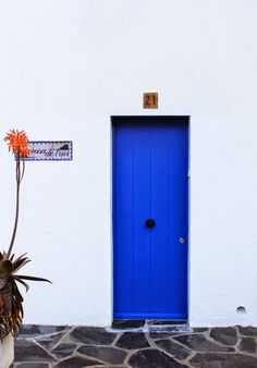 Blue door and flower in Cadaques, Spain. Feel like holidays...