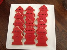 Fire hydrant cookies - going to make as take homes for adult with yellow. Dog Cookies, Cake Cookies, Sugar Cookies, Adult Birthday Party, Dog Birthday, Cookie Designs, Cookie Ideas, Fireman Party, Paw Patrol Birthday
