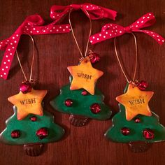 "Christmas Tree ""Wish"" Upon A Star Clay Ornament"
